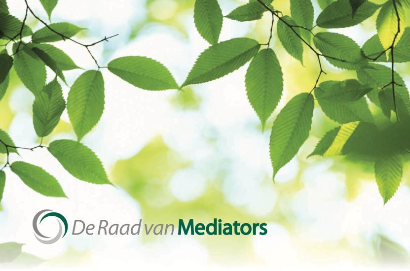 Brochure A4 Drieslag De Raad van Mediators Mediation Bemiddeling Conflictbemiddeling Bemiddelaars Conflictbemiddelaars Mediationopleiding Netwerk Platform